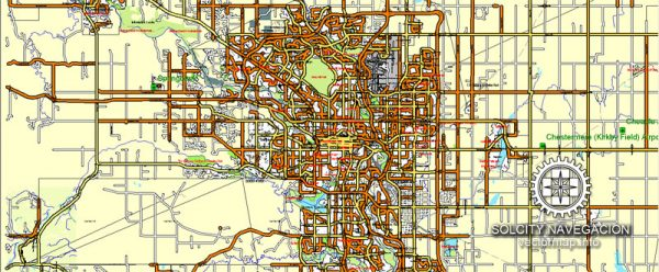 Calgary: Printable Street Road Atlas 9-parts Map of Calgary and neighborhood, Canada, Adobe Illustrator, full vector scalable, editable, 22,3 mb ZIP All streets, buildings, small roads / street and object names in text format