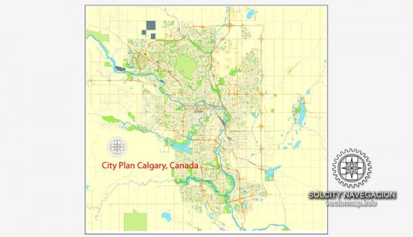 Printable City Plan Map of Calgary, Canada, Adobe Illustrator