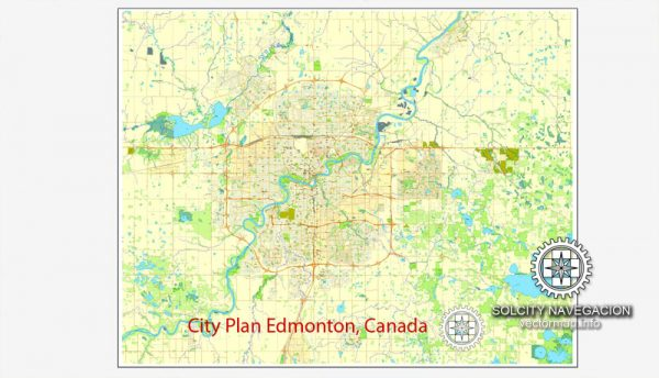 Printable City Plan Map of Edmonton, Canada, Adobe Illustrator, full vector 3 x 3 m, scalable, editable, separated text layer street names, 13,7 mb ZIP