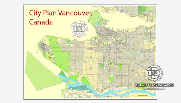 Printable City Plan Map of Vancouver, Canada, Adobe Illustrator, full vector 2 x 2 m, scalable, editable, separated text layer street names, 23,5 mb ZIP