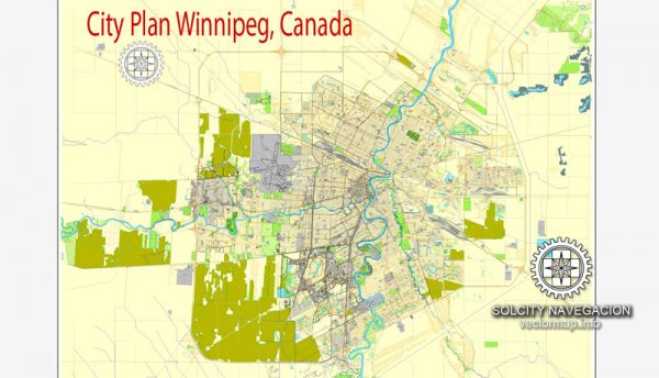 Printable City Plan Map of Winnipeg, Canada, Adobe Illustrator, full vector 3 x 3 m, scalable, editable, separated text layer street names, 35,3 mb zip