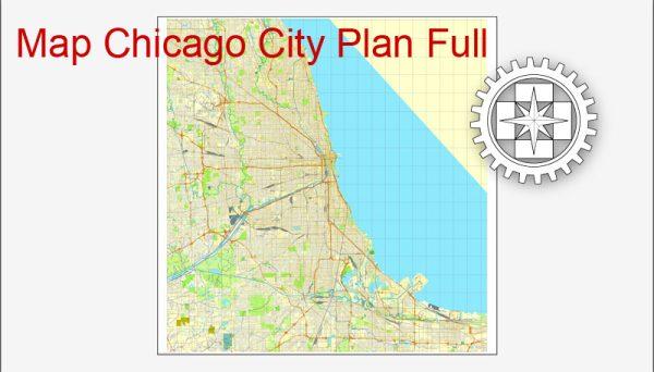 Printable City Plan Map of Charlotte, NC, US, Adobe Illustrator, full vector 3 x 3 m,