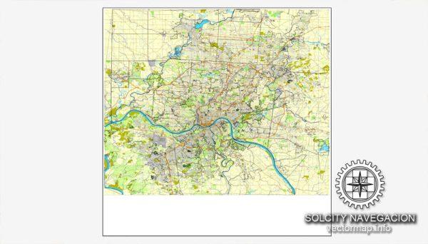 Map vector Cincinnati, Ohio, US printable vector street City Plan map, full editable, Adobe Illustrator