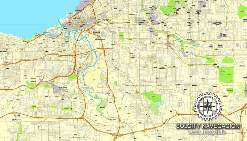 Cleveland, Ohio, US printable vector street City Plan map, full editable, Adobe Illustrator