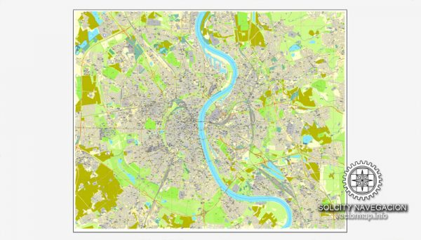 Cologne / Koln, Germany printable vector street City Plan map, full editable, Adobe Illustrator