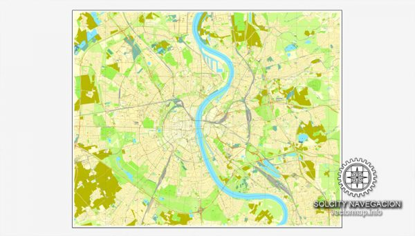 Cologne / Köln, Germany printable vector street SIMPLE City Plan map, full editable, Adobe Illustrator, full vector 3 x 3 m, scalable, editable, text format street names, 3,4 mb ZIP All streets, NO buildings. Map for design, print, arts, projects.