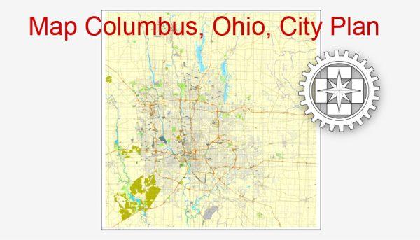 Columbus, Ohio, US, Printable City Plan Map Adobe Illustrator, full vector 2 x 2 m