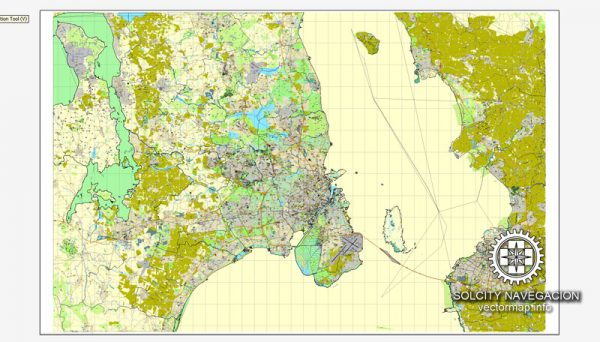 Copenhagen + Malmo / København + Malmö, Denmark printable vector street full City Plan map, full editable, Adobe Illustrator