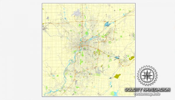 Map vector Dayton, Ohio, US printable vector street City Plan map, full editable, Adobe Illustrator