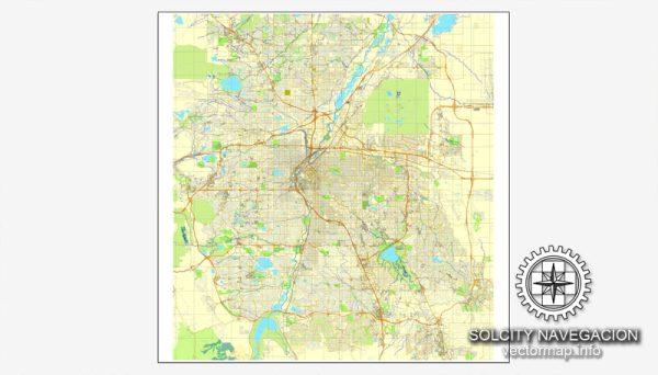 Denver, Colorado, US printable vector street City Plan map, full editable, Adobe Illustrator