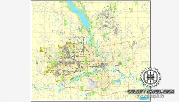 Des Moines, Iowa, US printable vector street City Plan map, full editable, Adobe Illustrator