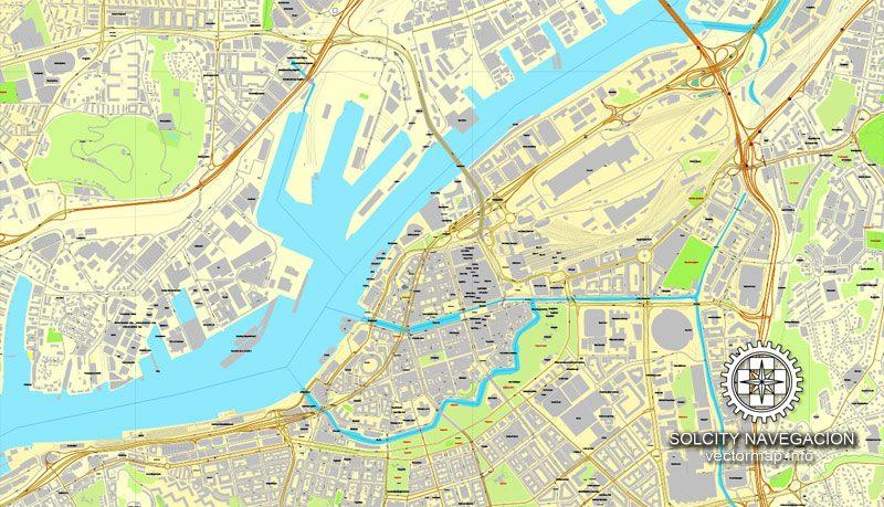 Gothenburg, Sweden / Göteborg, Sverige, printable vector street City Plan map, full editable, Adobe Illustrator
