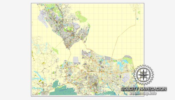 Map vector Hampton Roads, Virginia, US printable vector street City Plan map, full editable, Adobe Illustrator