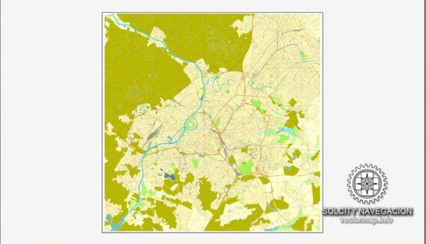 Lille, France printable vector street Simple City Plan map, full editable, Adobe Illustrator
