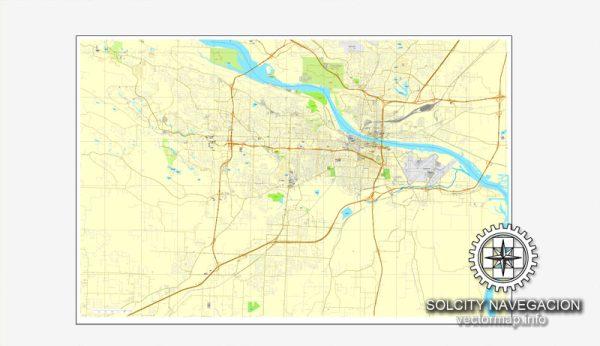 Map vector Little-Rock, Arkansas, US printable vector street City Plan map, full editable, Adobe Illustrator
