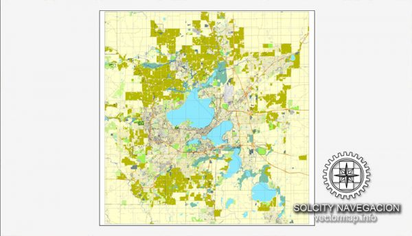 Map Madison, Wisconsin, US printable vector street City Plan map, full editable, Adobe Illustrator