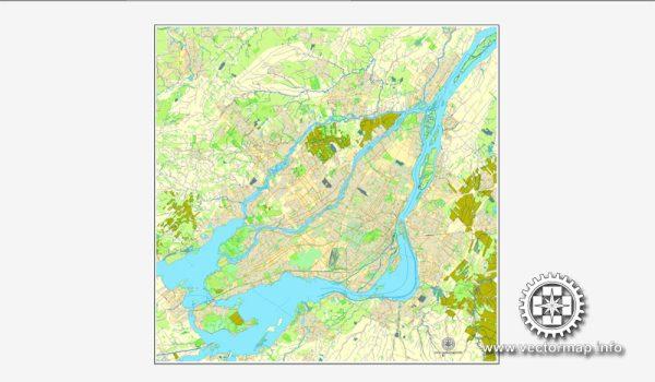 Printable City Plan Map of Montreal, Canada, Adobe Illustrator, full vector, scalable, editable, NO street names
