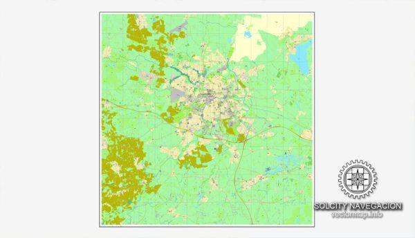 Odense, Denmark printable vector street full City Plan map, full editable, Adobe Illustrator