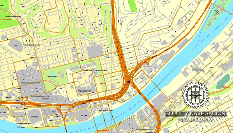 Vector map Pittsburgh, Pennsylvania, US printable vector street City Plan map, full editable, Adobe Illustrator