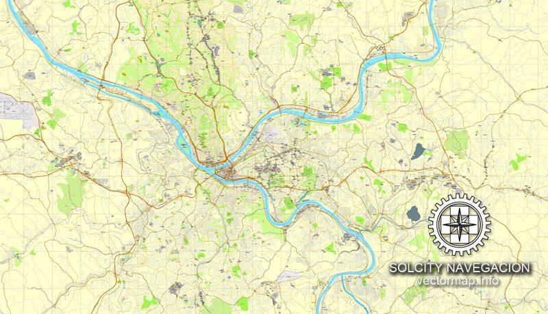 Pittsburgh, Pennsylvania, US printable vector street City Plan map, full editable, Adobe Illustrator