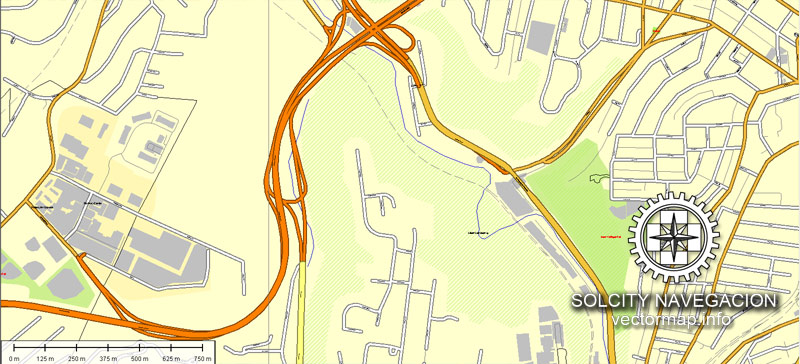 Map vector Pittsburgh, Pennsylvania, US printable vector street Atlas 25 parts map, full editable, Adobe Illustrator
