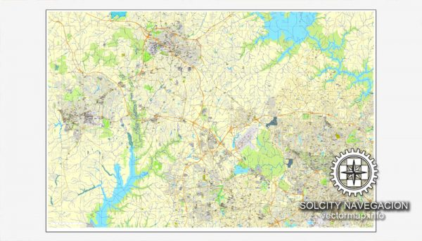 Vector map Raleigh, Chapel Hill, Durham, North Carolina, US printable vector street City Plan map, full editable, Adobe Illustrator