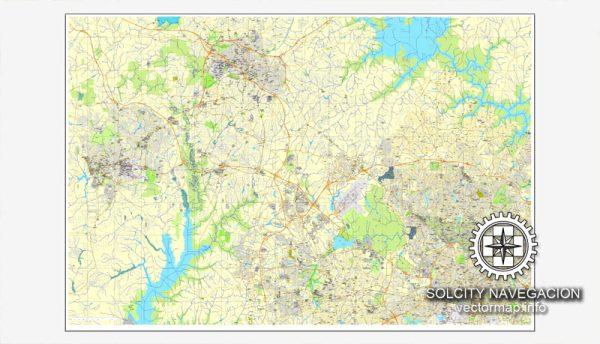 Vector map Raleigh, Chapel Hill, Durham, North Carolina, US printable vector street City Plan map, full editable, Adobe Illustrator