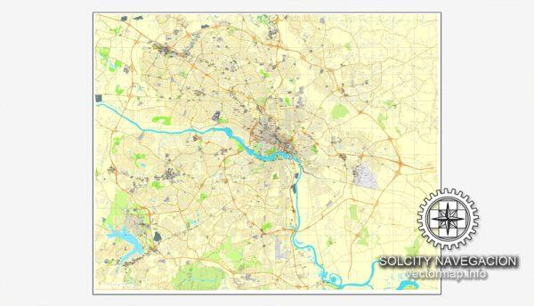 Vector map Richmond, Virginia, US printable vector street City Plan map, full editable, Adobe Illustrator