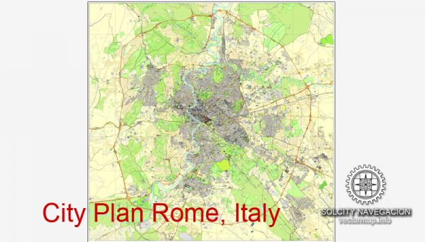 Printable City Plan Map of Rome, Italy, mappa roma vettoriale, Adobe Illustrator, full vector 3 x 3 m, scalable, editable, separated text layer street names, 29,3 mb ZIP All streets, buildings.