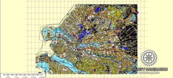 Rotterdam, Netherland printable vector street full Atlas 49 parts map, full editable, Adobe Illustrator