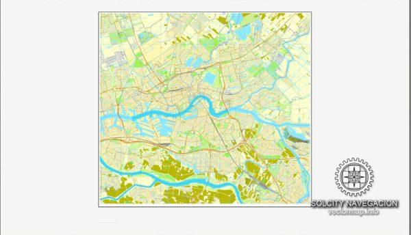 Rotterdam, Netherland printable vector street City Plan map, full editable, Adobe Illustrator
