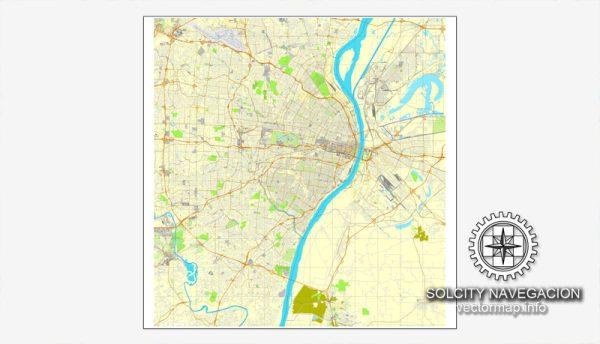 Map Vector Saint Louis, Missouri, US printable vector street City Plan map, full editable, Adobe Illustrator