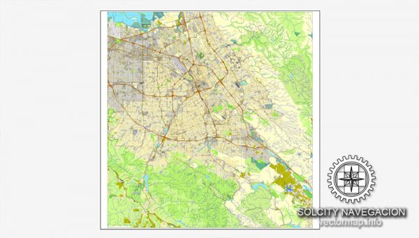 Map vector San Jose, California, US printable vector street City Plan map, full editable, Adobe Illustrator