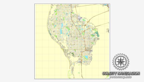 St. Petersburg Map Vector Florida US printable City Plan full editable Street Map Adobe Illustrator