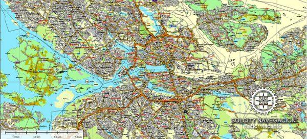 Stockholm, Sweden printable vector street full Atlas 25 parts map, full editable, Adobe Illustrator, full vector 3 x 3 m, scalable, editable, text format street names, 110,6 mb ZIP