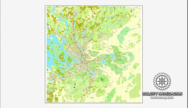 Map Stockholm, Sweden, Sverige printable vector street Simple City Plan map, full editable, Adobe Illustrator