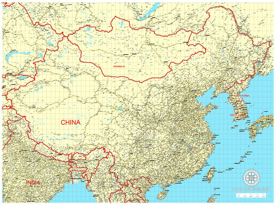 China: Free vector map China + Mongolia + North Korea + South Korea, Adobe Illustrator, download now maps vector clipart