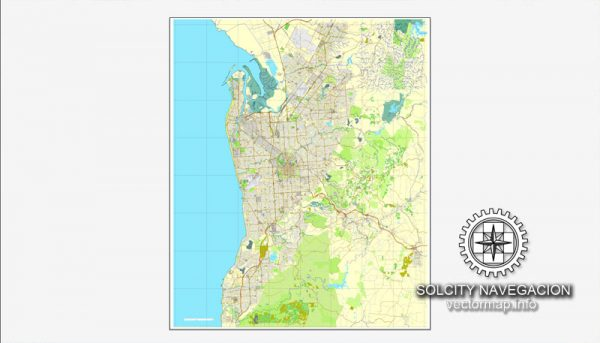 Map vector Adelaide, Australia, printable vector street City Plan map, full editable, Adobe illustrator Map for design, print, arts, projects, presentations, for architects, designers and builders