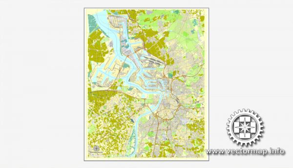 Map vector Antwerpen, Belgium, printable vector street City Plan map, full editable, Adobe illustrator Map for design, print, arts, projects, presentations, for architects, designers and builders