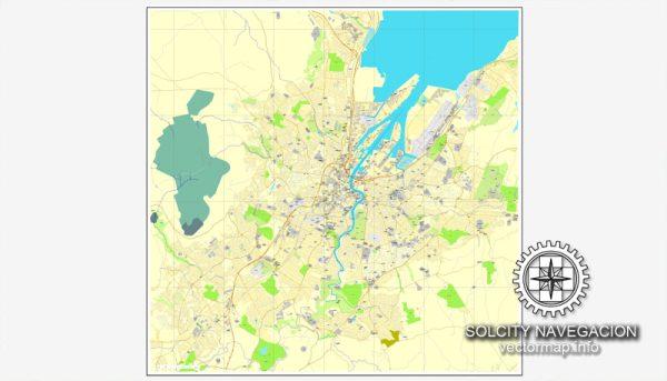 Map vector Belfast, Ireland printable vector street City Plan map, full editable, Adobe Illustrator