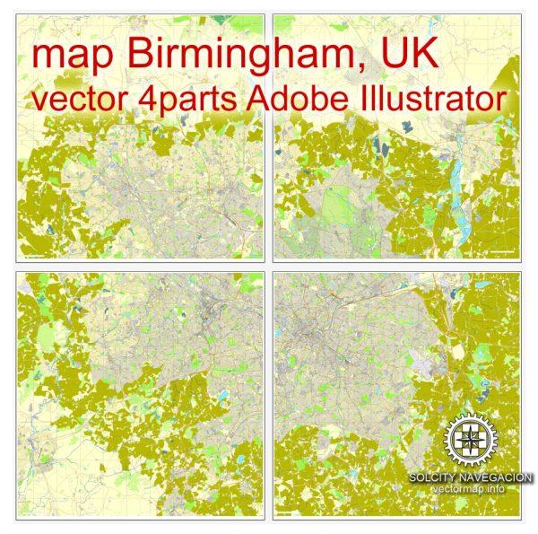 Birmingham, UK Great Britain, printable vector street City Plan map, full editable, Adobe Illustrator