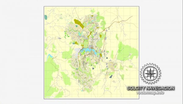 Map vector Canberra, Australia, printable vector street City Plan map, full editable, Adobe illustrator Map for design, print, arts, projects, presentations, for architects, designers and builders