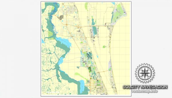 Map vector Cape Canaveral, Florida, US printable vector street City Plan map, full editable, Adobe Illustrator Map for design, print, arts, projects, presentations, for architects, designers and builders.