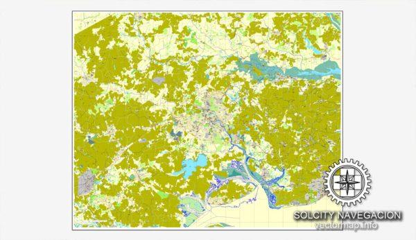 Map vector Colchester, England, UK Great Britain, printable vector street City Plan map, full editable, Adobe Illustrator