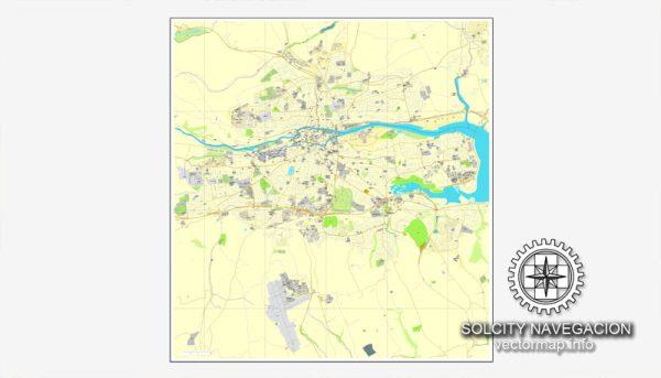 Map vector Cork, Ireland printable vector street City Plan map, full editable, Adobe Illustrator