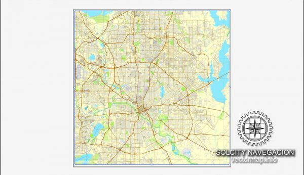 Map vector Dallas, Texas, US printable vector street City Plan map, full editable, Adobe illustrator Map for design, print, arts, projects, presentations, for architects, designers and builders