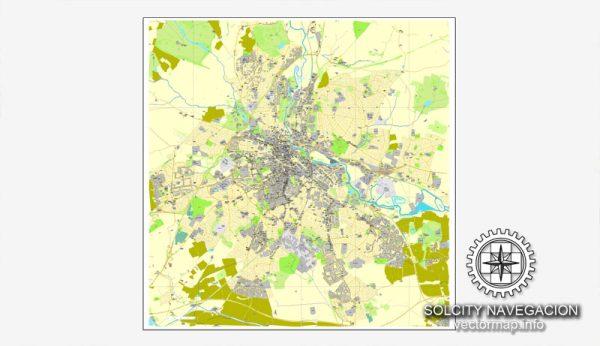 Map vector Derby, England, UK Great Britain, printable vector street City Plan map, full editable, Adobe Illustrator