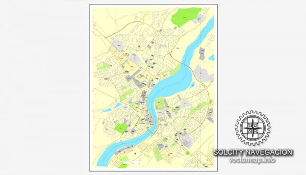 Map Vector Derry, Ireland printable vector street City Plan map, full editable, Adobe Illustrator