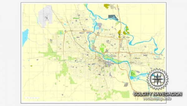 Map vector Eugene, Oregon, US printable vector street City Plan map, full editable, Adobe Illustrator Map for design, print, arts, projects, presentations, for architects, designers and builders