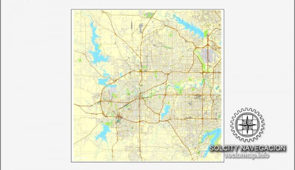 Map vector Fort Worth, Texas, US printable vector street City Plan map, full editable, Adobe illustrator Map for design, print, arts, projects, presentations, for architects, designers and builders